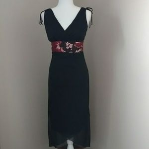Ruby Rox Black Dress with Satin floral waist wrap